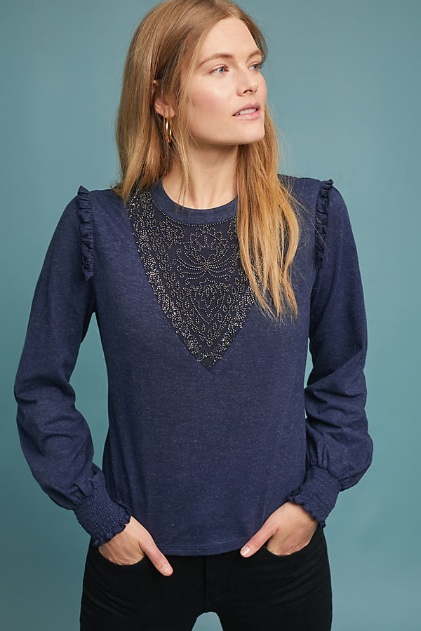 Charlene Beaded Top - Blue, Size M