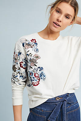 Slide View: 1: Embroidered-Sleeve Pullover