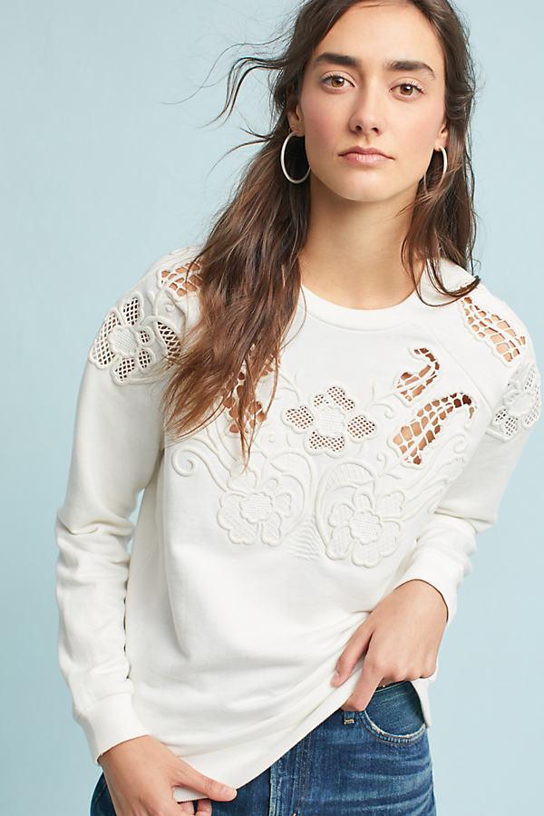 Posie Lace Cutwork Top, Cream - Cream, Size Uk 8
