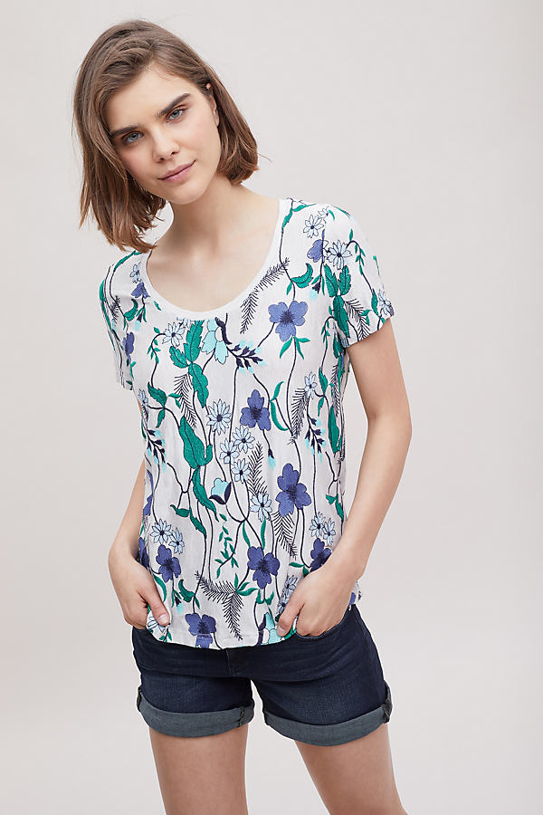 Magda Floral-Embroidered Tee - Beige, Size Xl