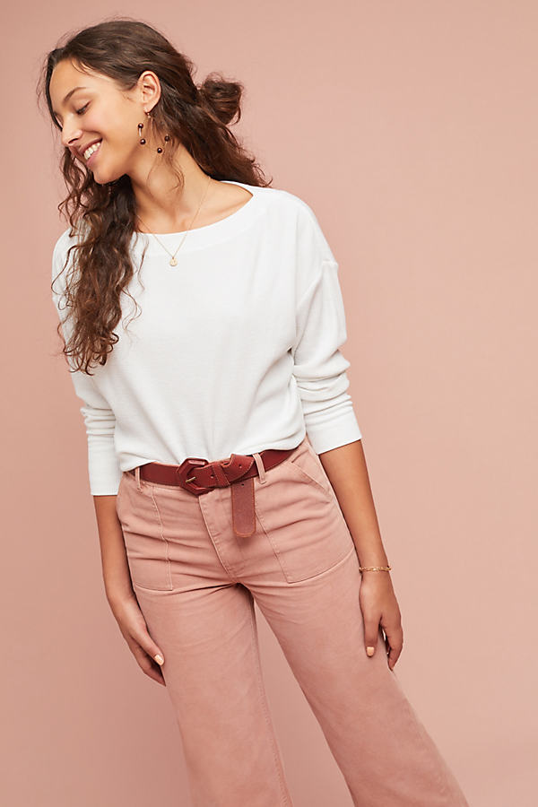 Rayna Waffle-Textured Top - White, Size M