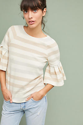 Slide View: 1: Striped Ruffled-Sleeve Top