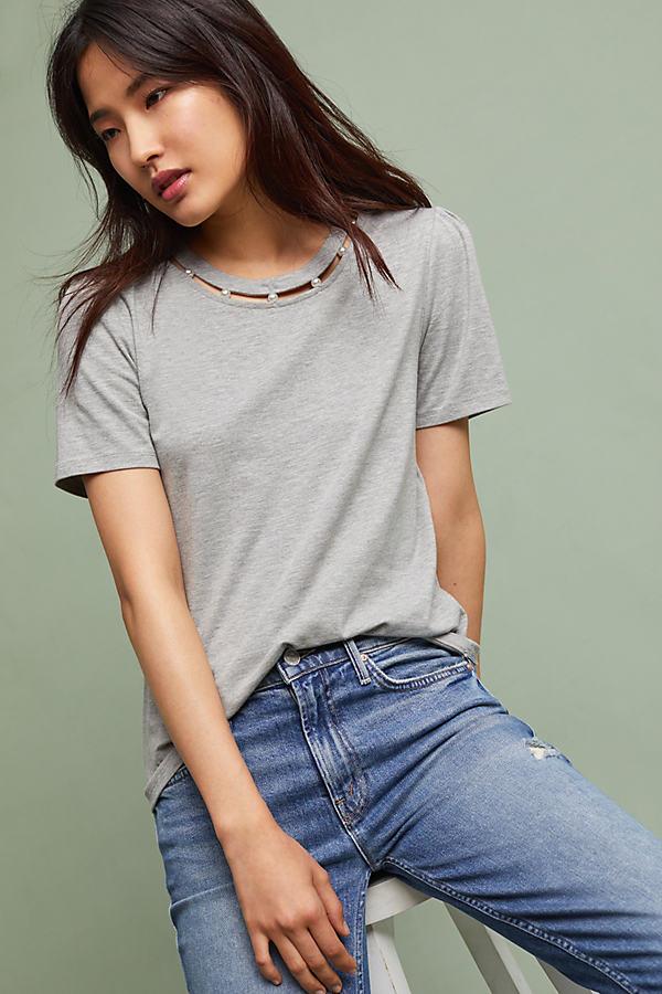 Enchanted Pearl-Collar T-Shirt, Grey - Grey, Size L