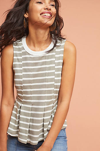 Striped Peplum Tank