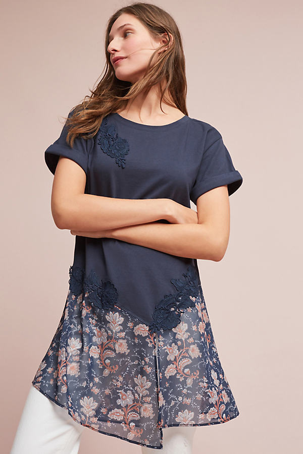 Kris Lace Tunic - Navy, Size Xl