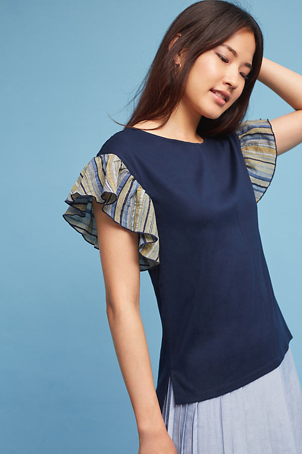 Seafarer Ruffle-Sleeved Top - Navy, Size L