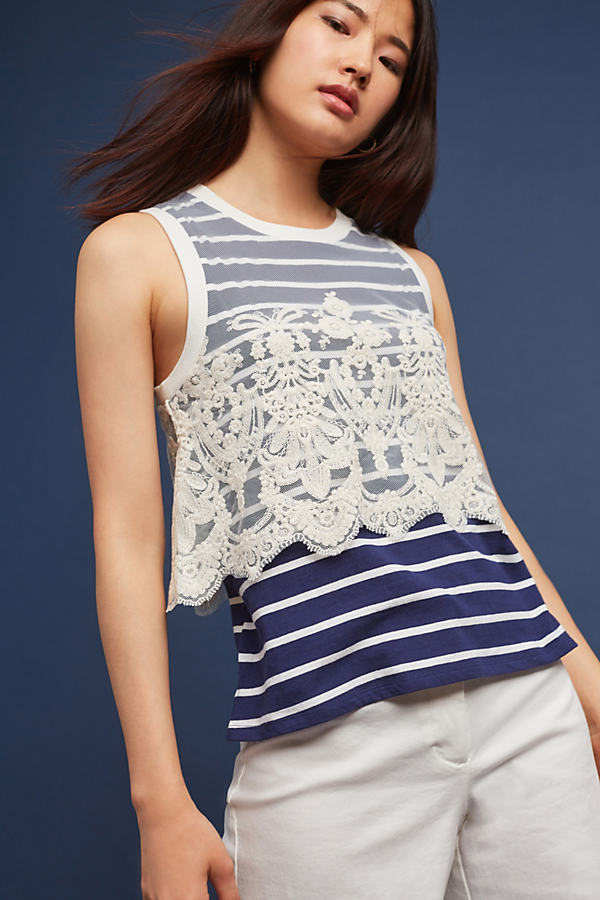 Goa Lace-Trimmed Tank Top - Navy, Size M