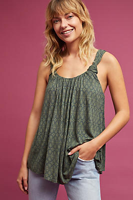 Slide View: 1: Knotted Scoop Neck Tank Top