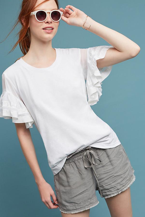 Sorrento Ruffle-Sleeved Top - White, Size Xs