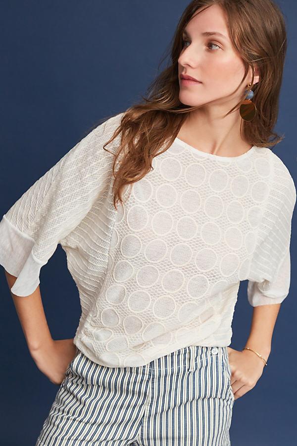 Ilyra Ruffled-Sleeve Blouse, Ivory - Cream, Size M