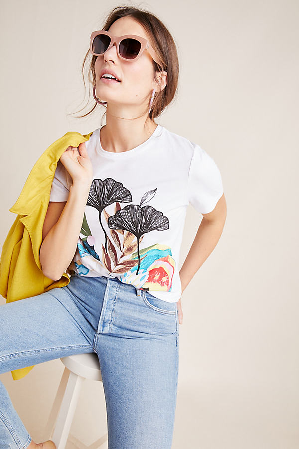 Lily Pond Embroidered Tee - Assorted, Size Uk 12