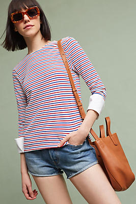 Slide View: 1: Poplin Cuffed Top