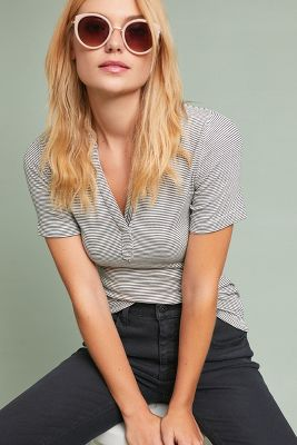 Brittany Collared Tee  -    BLACK & WHITE