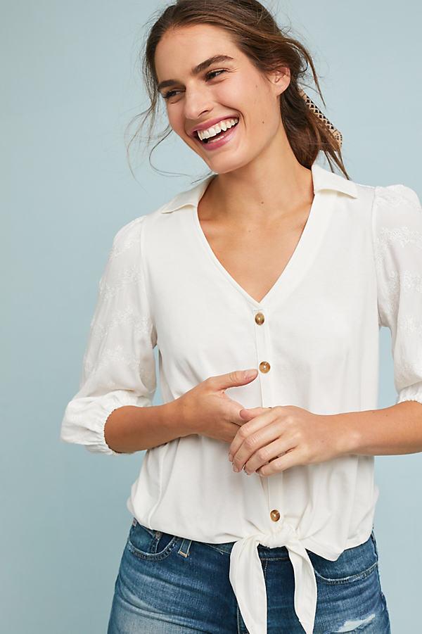 Lenora Tied Blouse - White, Size L