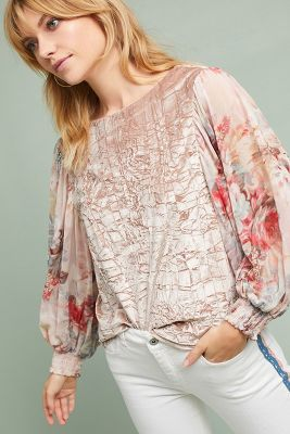 Slide View: 3: Floral-Sleeve Velvet Top