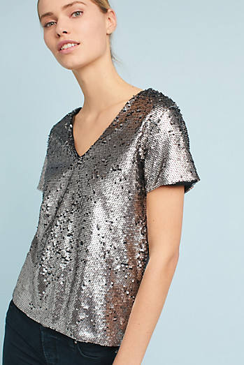 Sequined V-Neck Tee