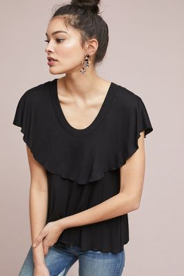 Vanessa Virginia   Bella Ruffled Top  -    BLACK