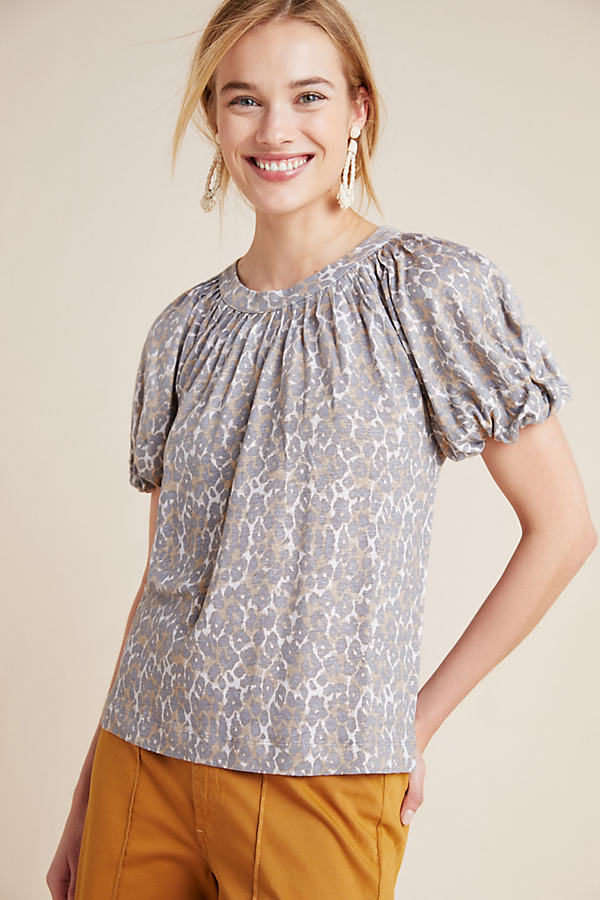 Linen Puff-Sleeved Top - Assorted, Size M