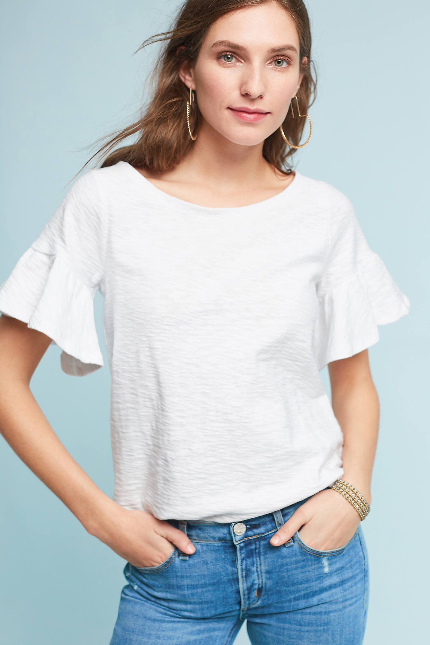 Christel Ruffled-Sleeve Top