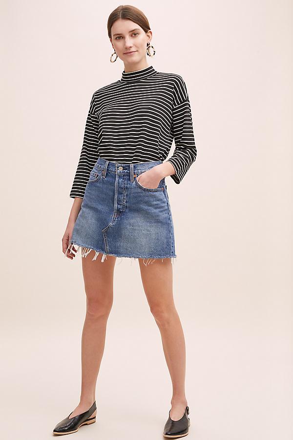 Sheila Striped-Turtleneck Top - Black, Size Uk 14