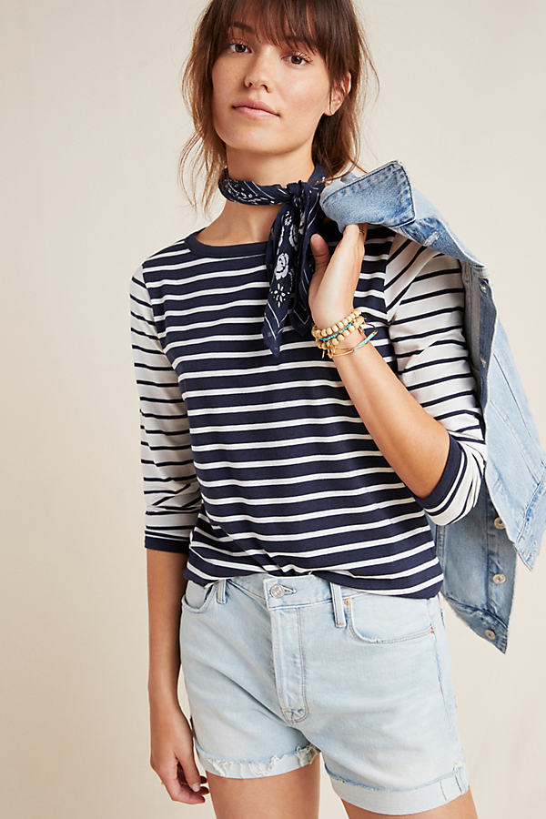 Contrast Striped Tee - Blue, Size Uk 10