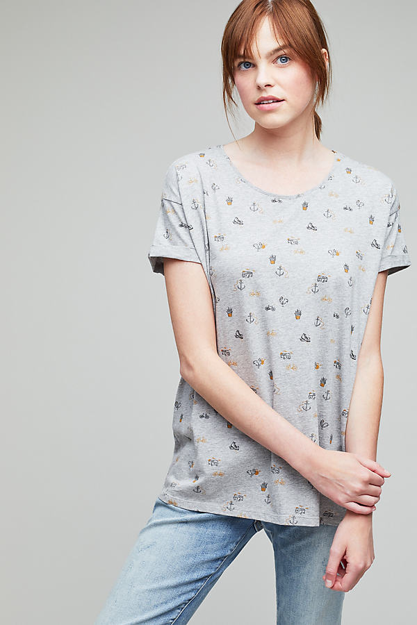 Ellie Printed Tee, Grey - Grey, Size Xs