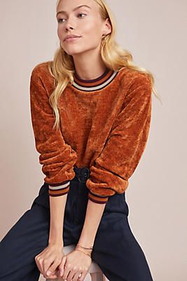 Slide View: 1: Sporty Chenille Pullover