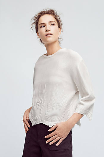 Scalloped Snow Pullover
