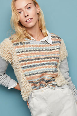 Slide View: 1: Striped Faux Fur Pullover