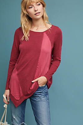 Slide View: 1: Asymmetrical Long-Sleeve Tee