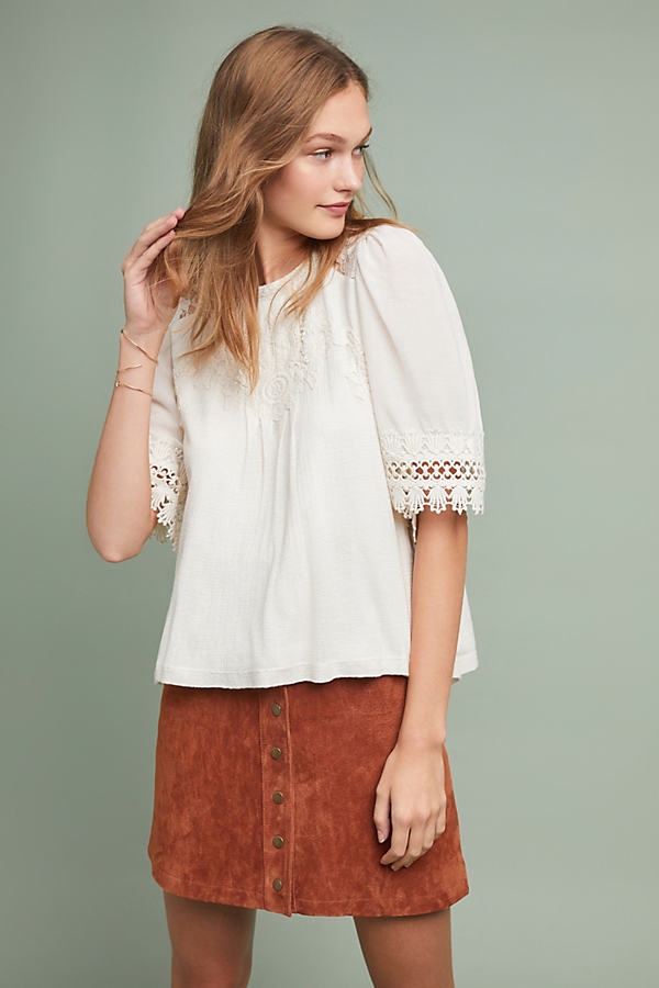 Armana Lace-Trimmed Top - White, Size L