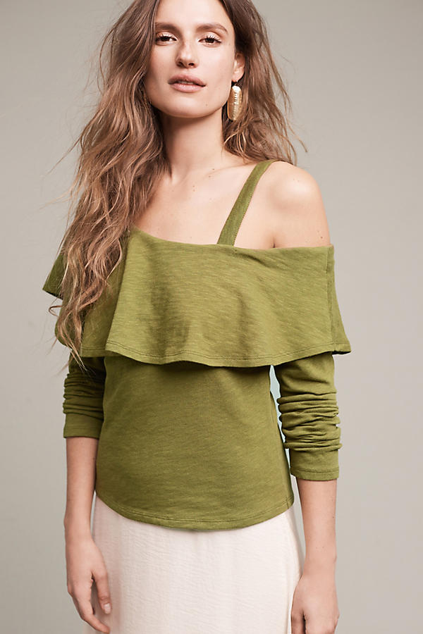 Slide View: 1: Asymmetrical Ruffle Top