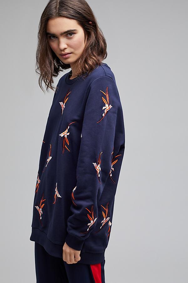Saza Embroidered Floral Sweatshirt - Navy, Size Xs
