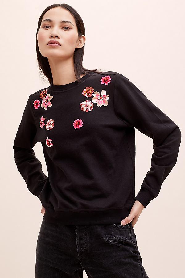 Kara Floral-Embroidered Sweatshirt - Black, Size M
