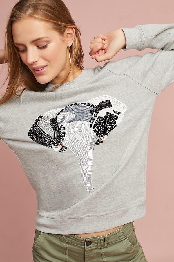 Elephant Embellished Sweatshirt, Grey - Grey, Size M