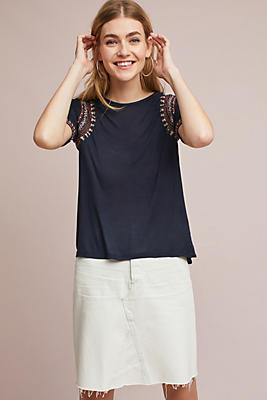 Slide View: 1: Embroidered Boat Neck Top