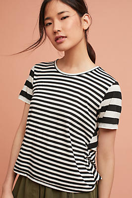 Slide View: 1: AMO Striped Ruffle-Back Tee