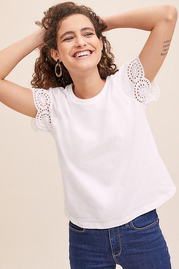 Jonie Eyelet-Sleeve Top - White, Size Uk 16