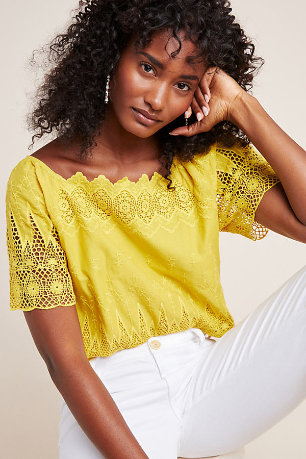 Leona Peasant Top - Yellow, Size Uk 6
