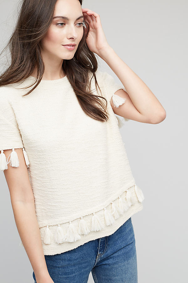 Carrie Tassel Top, White - Ivory, Size 16