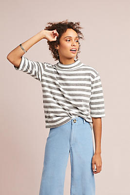 Slide View: 1: Striped Terry Turtleneck