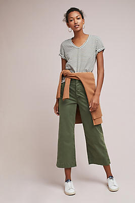 Slide View: 1: Rolled-Cuff V-Neck Tee