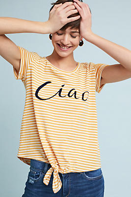 Slide View: 1: Ciao Striped Graphic Tee