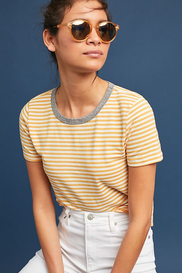 Slide View: 1: Striped Ringer Tee