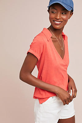 Slide View: 1: Collared Wrap Top