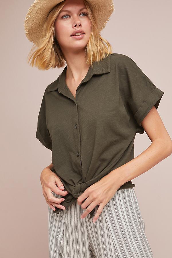 Sirani Buttondown Top - Green, Size Xl