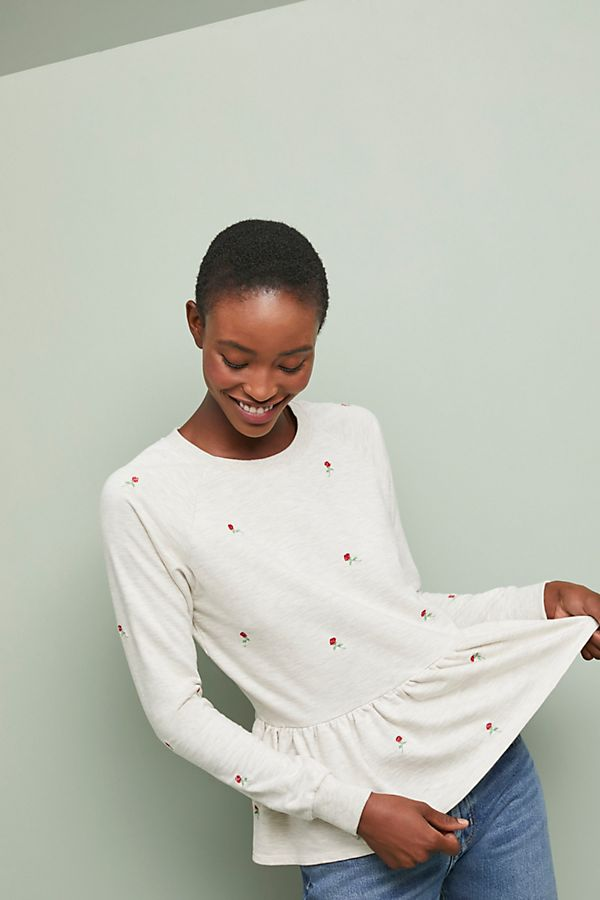 Slide View: 4: Rosebud Peplum Sweatshirt
