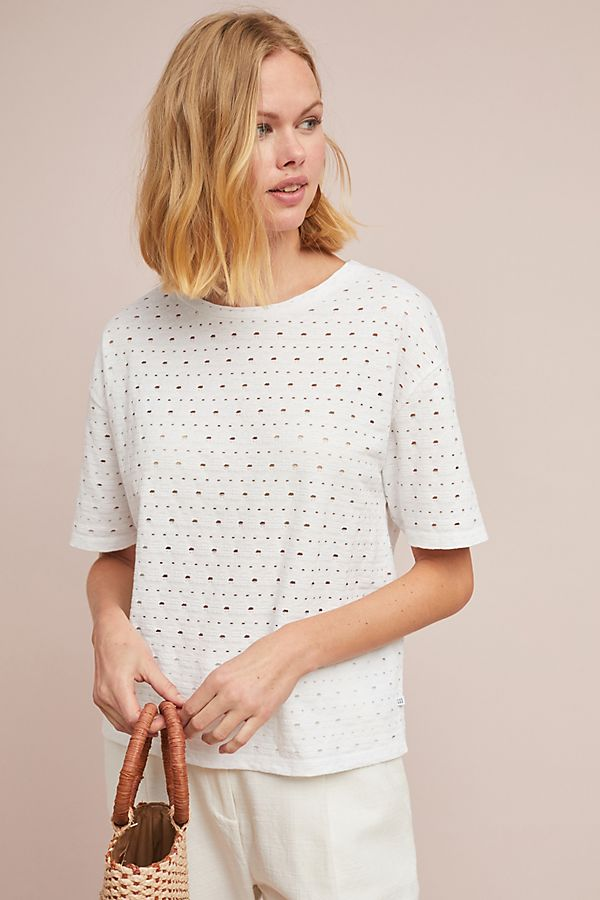 Slide View: 3: Eyelet Crew Neck Tee
