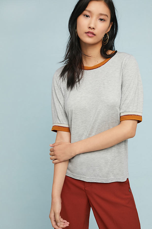 Erica Metallic-Trimmed Tee - Grey, Size Uk 14