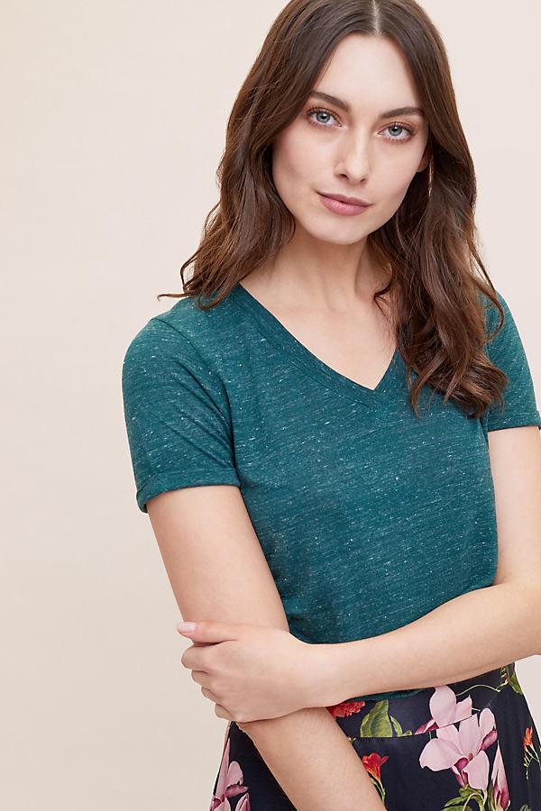 Vidal Basic V-neck Tee - Dark Green, Size Uk 12
